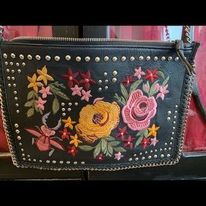 Topshop black leather embroidered crossbody bag